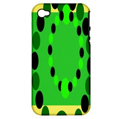 Circular Dot Selections Green Yellow Black Apple iPhone 4/4S Hardshell Case (PC+Silicone)