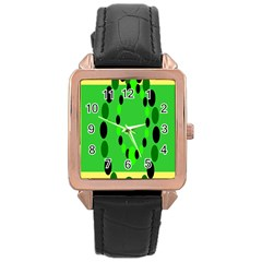 Circular Dot Selections Green Yellow Black Rose Gold Leather Watch