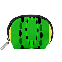 Circular Dot Selections Green Yellow Black Accessory Pouches (Small)