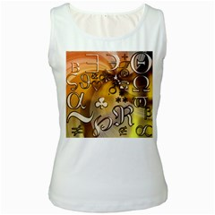 Symbols On Gradient Background Embossed Women s White Tank Top