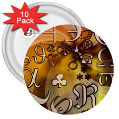 Symbols On Gradient Background Embossed 3  Buttons (10 Pack)