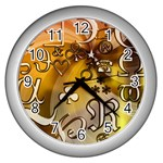 Symbols On Gradient Background Embossed Wall Clocks (Silver)  Front