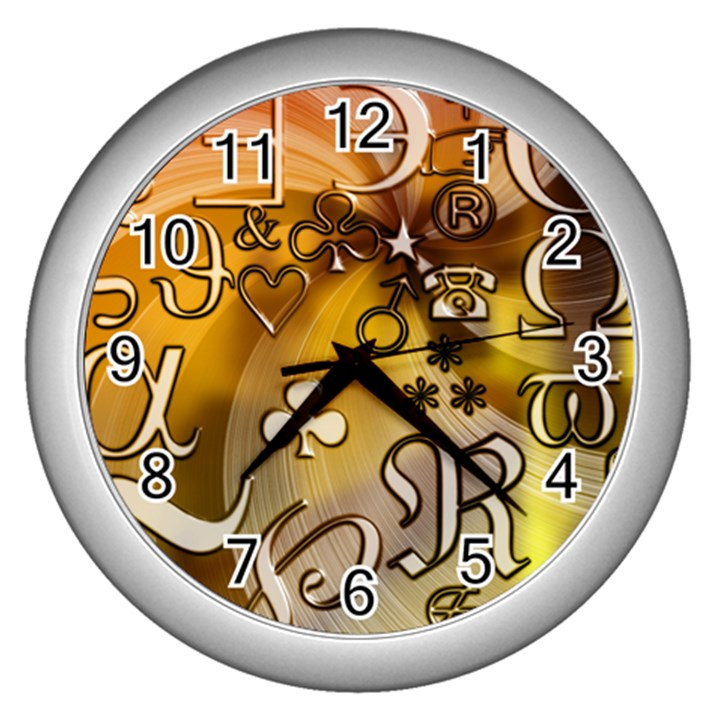 Symbols On Gradient Background Embossed Wall Clocks (Silver)