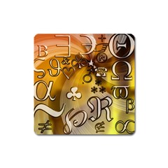 Symbols On Gradient Background Embossed Square Magnet