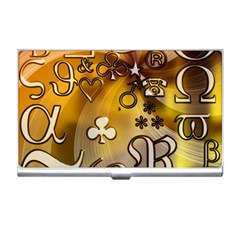 Symbols On Gradient Background Embossed Business Card Holders