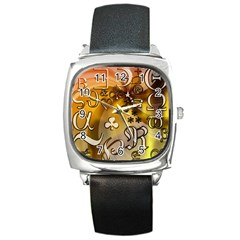 Symbols On Gradient Background Embossed Square Metal Watch