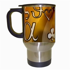Symbols On Gradient Background Embossed Travel Mugs (white)