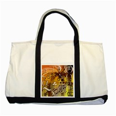 Symbols On Gradient Background Embossed Two Tone Tote Bag