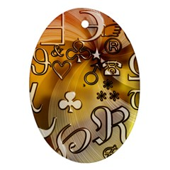 Symbols On Gradient Background Embossed Oval Ornament (two Sides)
