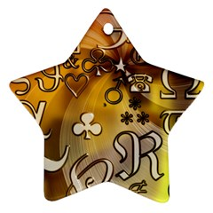 Symbols On Gradient Background Embossed Star Ornament (two Sides)