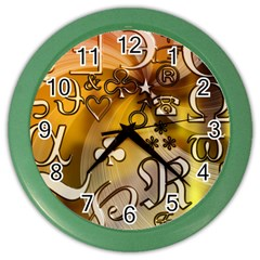 Symbols On Gradient Background Embossed Color Wall Clocks