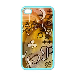 Symbols On Gradient Background Embossed Apple Iphone 4 Case (color)