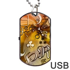 Symbols On Gradient Background Embossed Dog Tag Usb Flash (one Side)