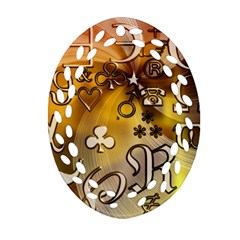 Symbols On Gradient Background Embossed Oval Filigree Ornament (two Sides)