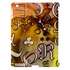 Symbols On Gradient Background Embossed Apple Ipad 3/4 Hardshell Case (compatible With Smart Cover)