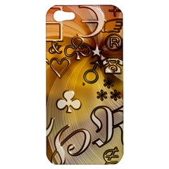 Symbols On Gradient Background Embossed Apple Iphone 5 Hardshell Case