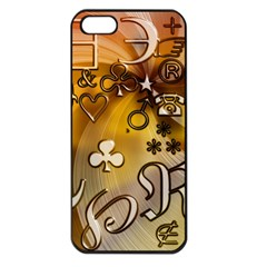 Symbols On Gradient Background Embossed Apple Iphone 5 Seamless Case (black)