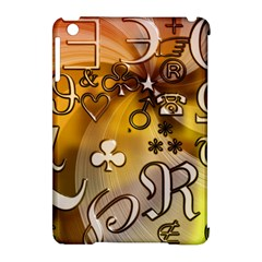 Symbols On Gradient Background Embossed Apple Ipad Mini Hardshell Case (compatible With Smart Cover)