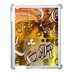 Symbols On Gradient Background Embossed Apple Ipad 3/4 Case (white)
