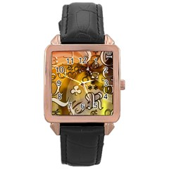 Symbols On Gradient Background Embossed Rose Gold Leather Watch