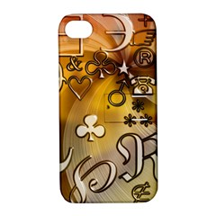 Symbols On Gradient Background Embossed Apple Iphone 4/4s Hardshell Case With Stand