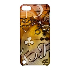 Symbols On Gradient Background Embossed Apple Ipod Touch 5 Hardshell Case With Stand
