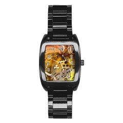 Symbols On Gradient Background Embossed Stainless Steel Barrel Watch