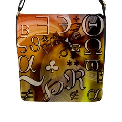 Symbols On Gradient Background Embossed Flap Messenger Bag (L)