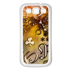 Symbols On Gradient Background Embossed Samsung Galaxy S3 Back Case (white)