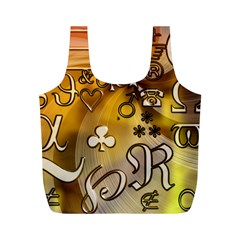 Symbols On Gradient Background Embossed Full Print Recycle Bags (M)