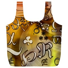 Symbols On Gradient Background Embossed Full Print Recycle Bags (l)