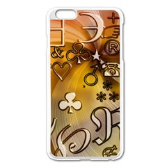 Symbols On Gradient Background Embossed Apple Iphone 6 Plus/6s Plus Enamel White Case