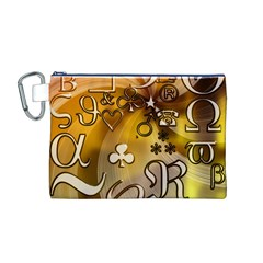 Symbols On Gradient Background Embossed Canvas Cosmetic Bag (m)