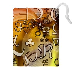 Symbols On Gradient Background Embossed Drawstring Pouches (xxl)