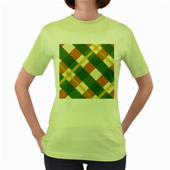 Autumn Plaid Women s Green T Shirt