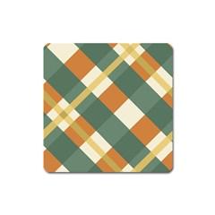 Autumn Plaid Square Magnet