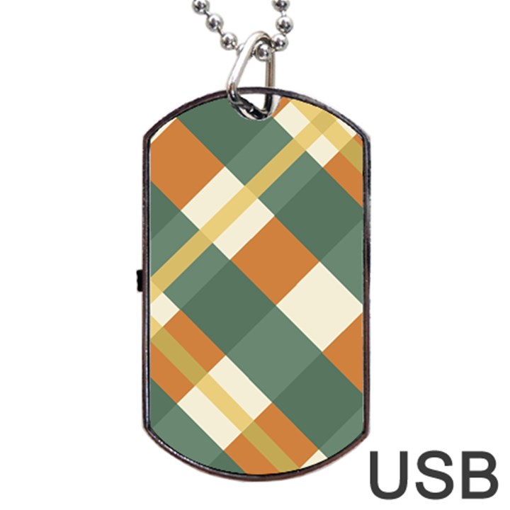 Autumn Plaid Dog Tag USB Flash (Two Sides)