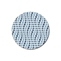 Circle Blue Grey Line Waves Rubber Round Coaster (4 Pack)