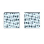 Circle Blue Grey Line Waves Cufflinks (Square) Front
