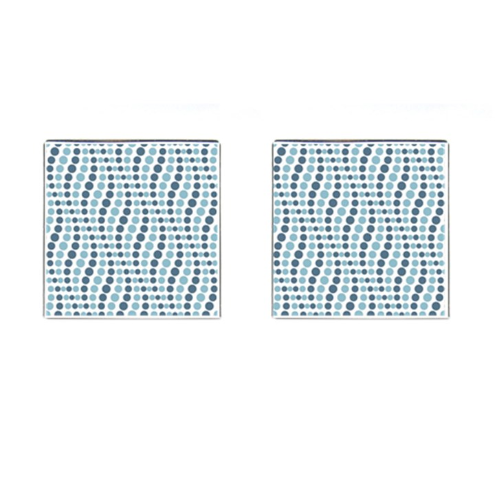 Circle Blue Grey Line Waves Cufflinks (Square)