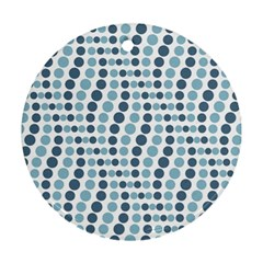 Circle Blue Grey Line Waves Round Ornament (two Sides)