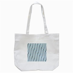 Circle Blue Grey Line Waves Tote Bag (White)