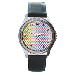 Colorful Floral Seamless Red Blue Green Pink Round Metal Watch