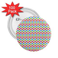 Colorful Floral Seamless Red Blue Green Pink 2.25  Buttons (100 pack)