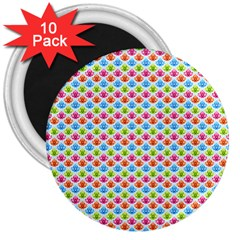 Colorful Floral Seamless Red Blue Green Pink 3  Magnets (10 pack)