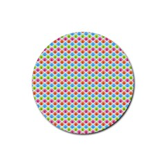 Colorful Floral Seamless Red Blue Green Pink Rubber Coaster (Round)