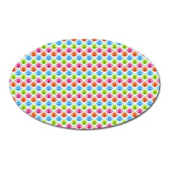 Colorful Floral Seamless Red Blue Green Pink Oval Magnet