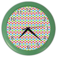 Colorful Floral Seamless Red Blue Green Pink Color Wall Clocks