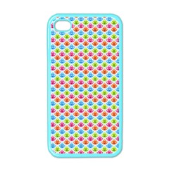 Colorful Floral Seamless Red Blue Green Pink Apple iPhone 4 Case (Color)