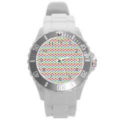 Colorful Floral Seamless Red Blue Green Pink Round Plastic Sport Watch (l)